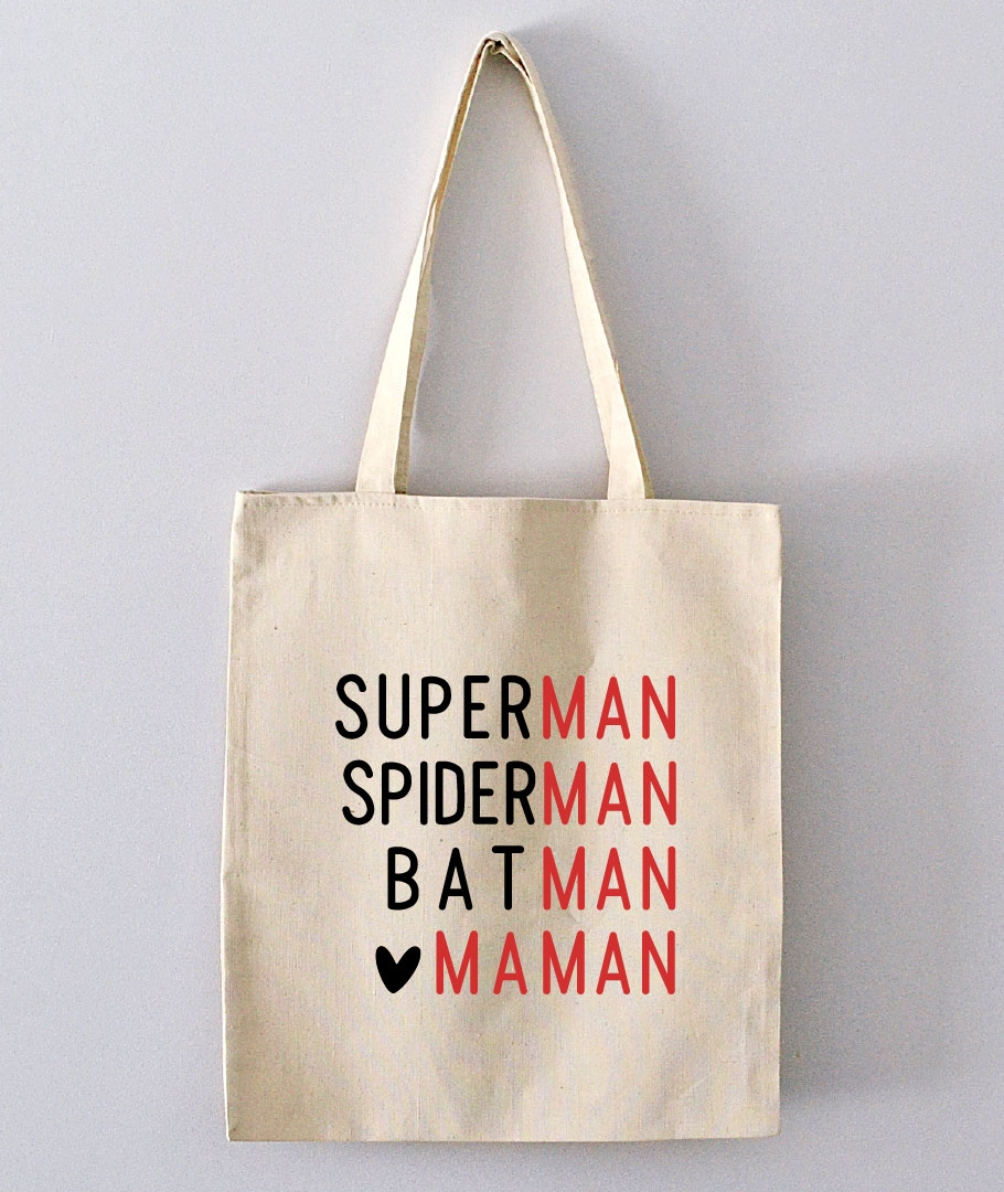 tote bag superman spiderman batman maman totebag pas cher. Black Bedroom Furniture Sets. Home Design Ideas